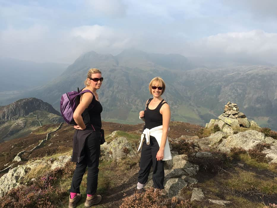 two friends top of mountain lake district