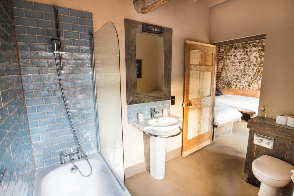 bathroom with bath norfolk yoga retreat