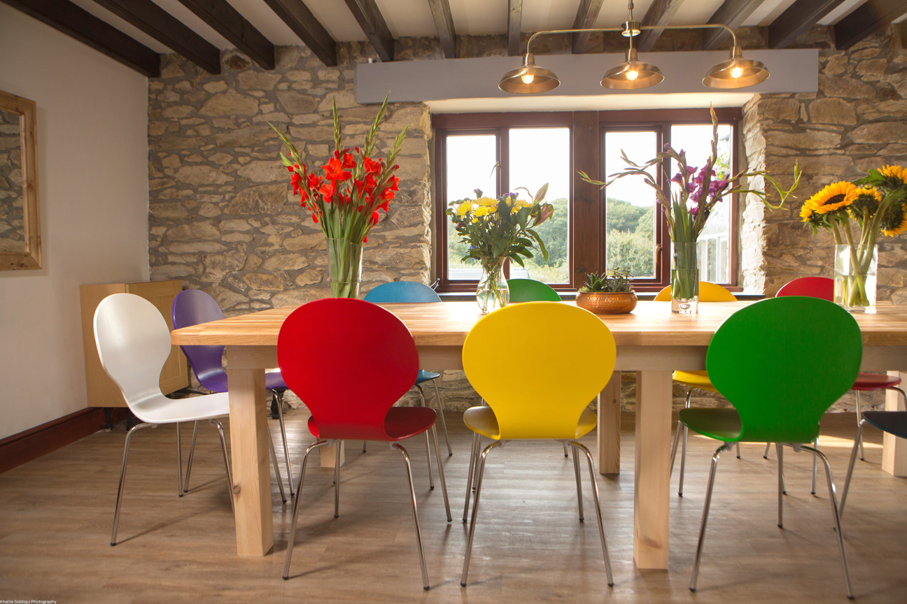 dining table red yellow green purple blue chairs farmhouse cornwall