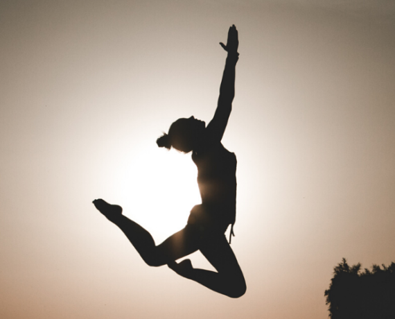 girl jumping silhouette